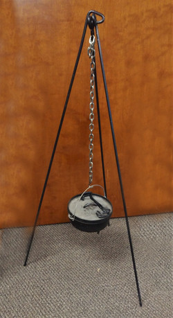 Camping Tripod with Cast Iron Pot