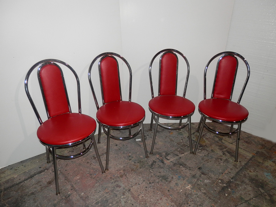 Chrome Diner w Cherry Red cushion Chairs