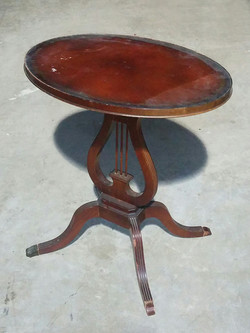 Oval Side Table with Lyre Base
