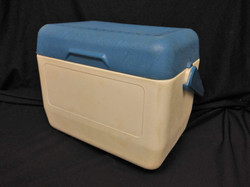 White Cooler with Blue Lid