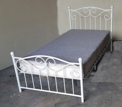 Twin Bed white metal Victorian bed and f