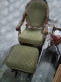 Green Glider Chair and Ottoman
