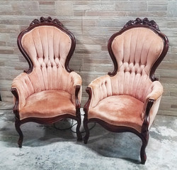Light Pink Victorian Chairs Pair