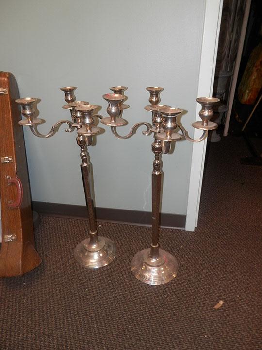 Tall Silver Candelabra Pair