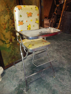 Baby High Chair with Vinyl Floral Print