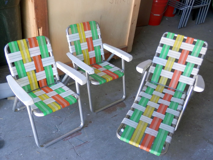 Fold Up Lawn Chair set of 3