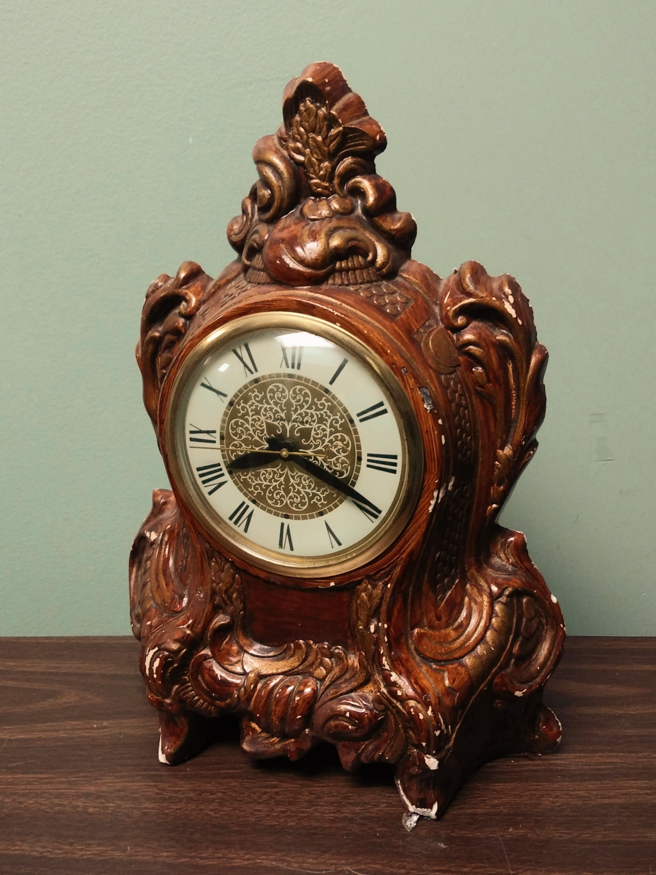 Ornate Wood Mantel Clock