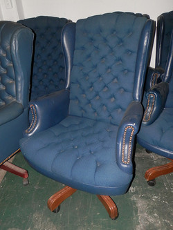 Executive Tufted Blue Chairs