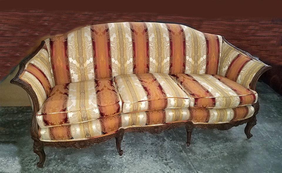 Queen Anne Sofa - Striped Yellow Orange