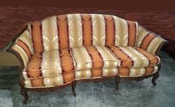 Queen Anne Sofa - Striped Yellow Orange