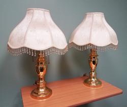 Modern Brass Lamp pair 26in beaded shade