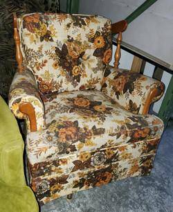 Wood and Floral Vintage Armchair