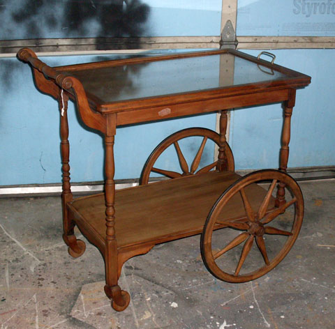 Tea Cart wood w glass top