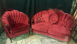 Red Plush Love Seat and Chair