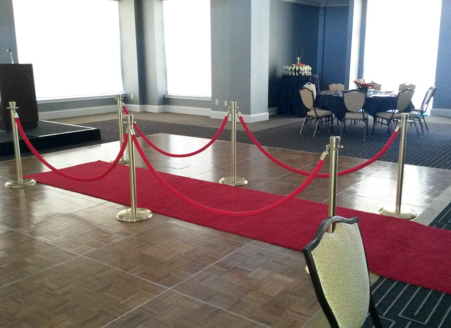 Red Carpet w new ropes and brass stanchi