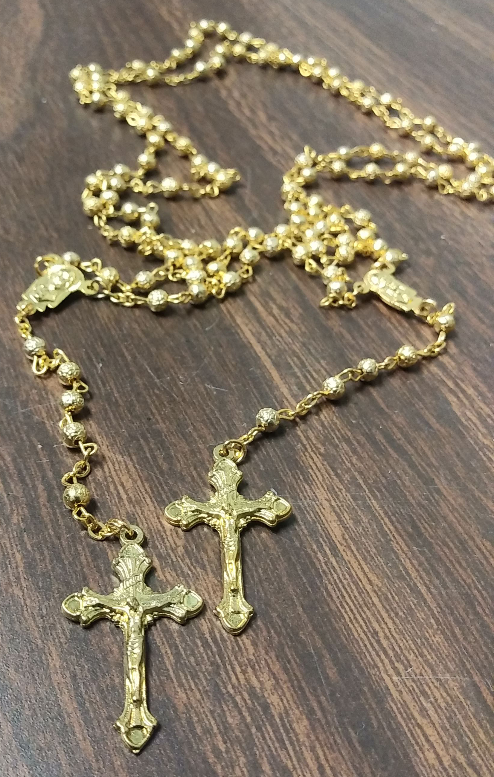 Gold Rosary Necklace w Crucifix