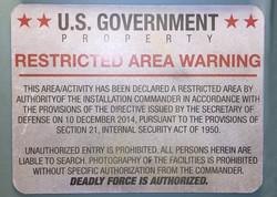 Sign - US Gov Restricted Area