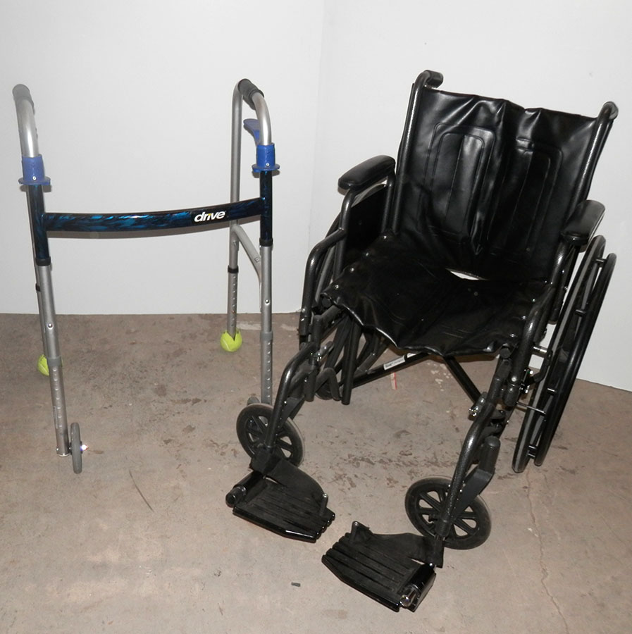 Black Wheelchair and Walker