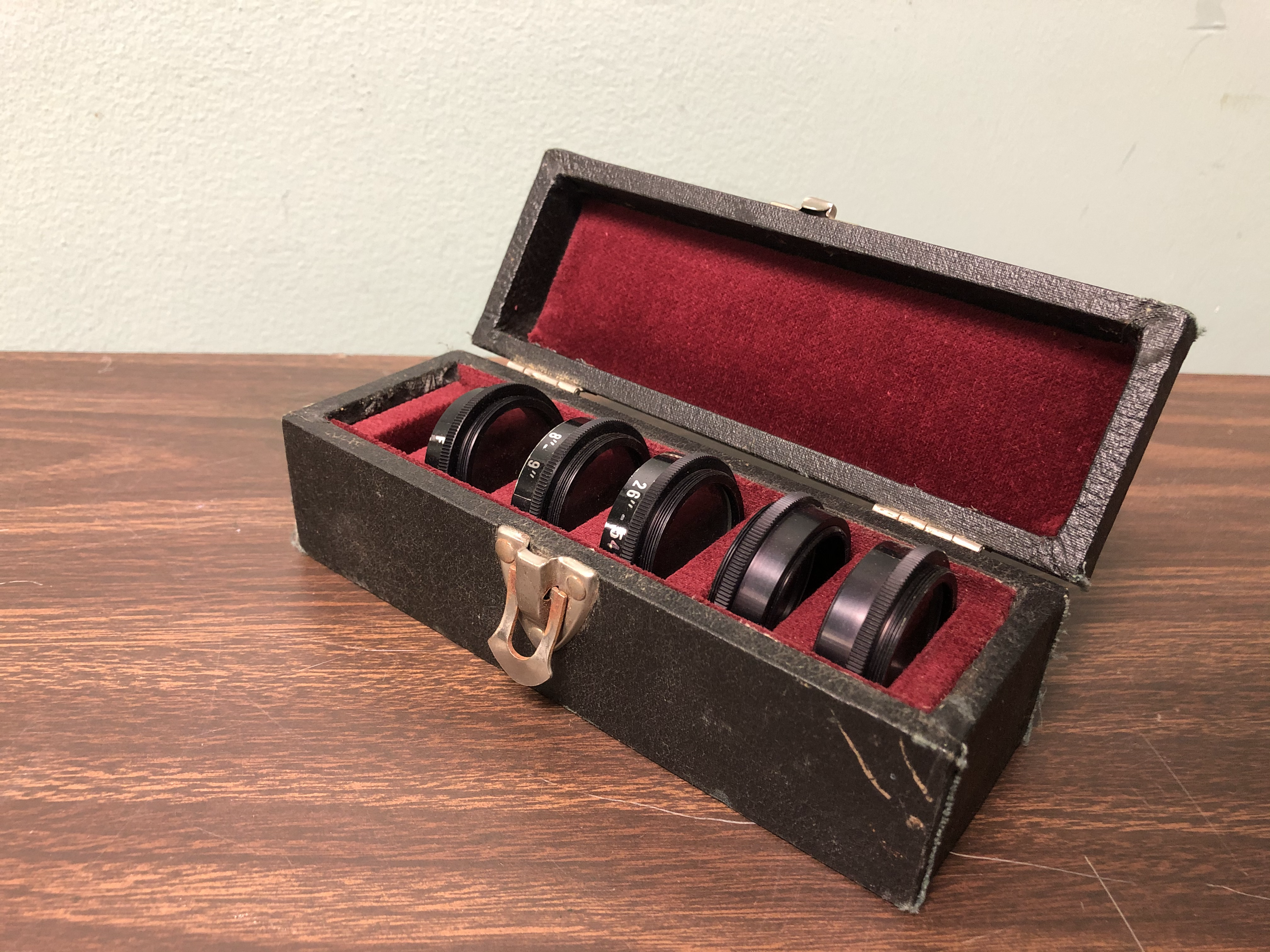 Camera lenses in clasp box