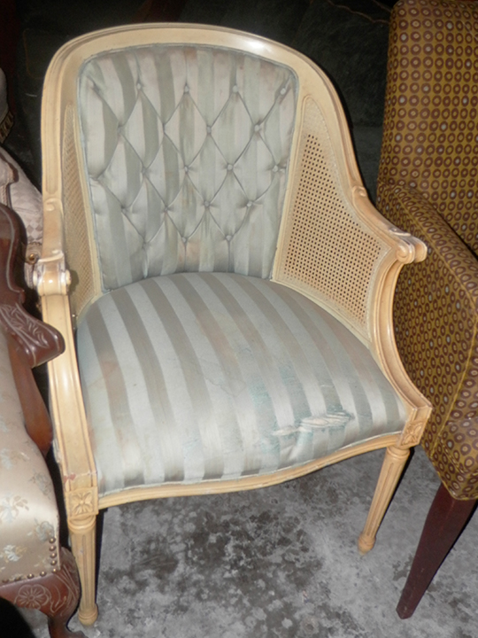 Chair teal striped 37x28x27