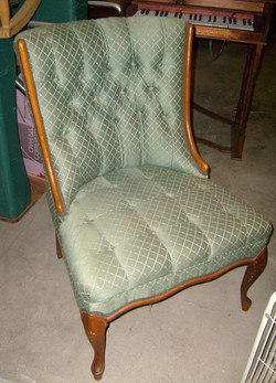 Chair - Side Formal Green patterned
