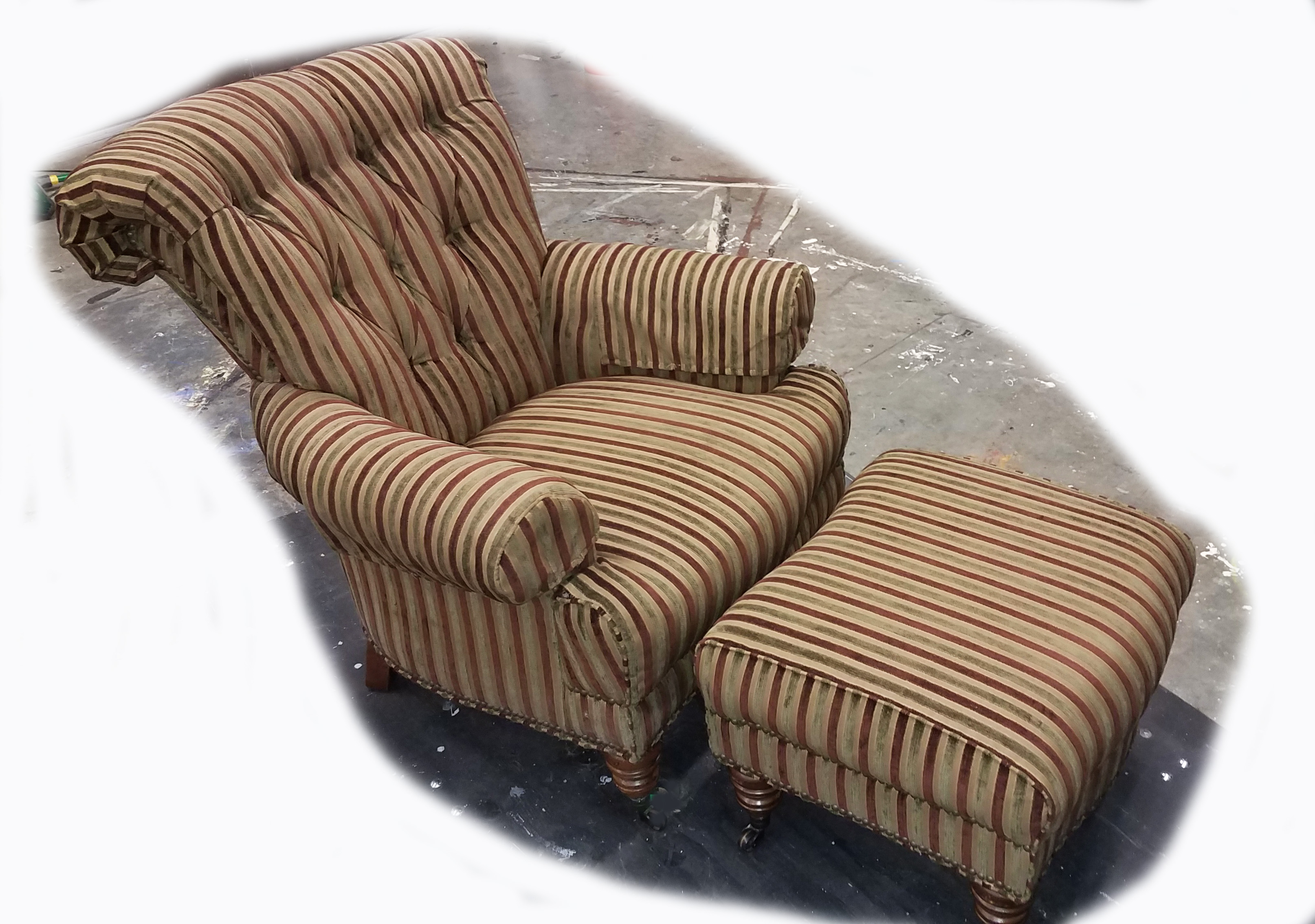 Striped Armchair and Ottoman