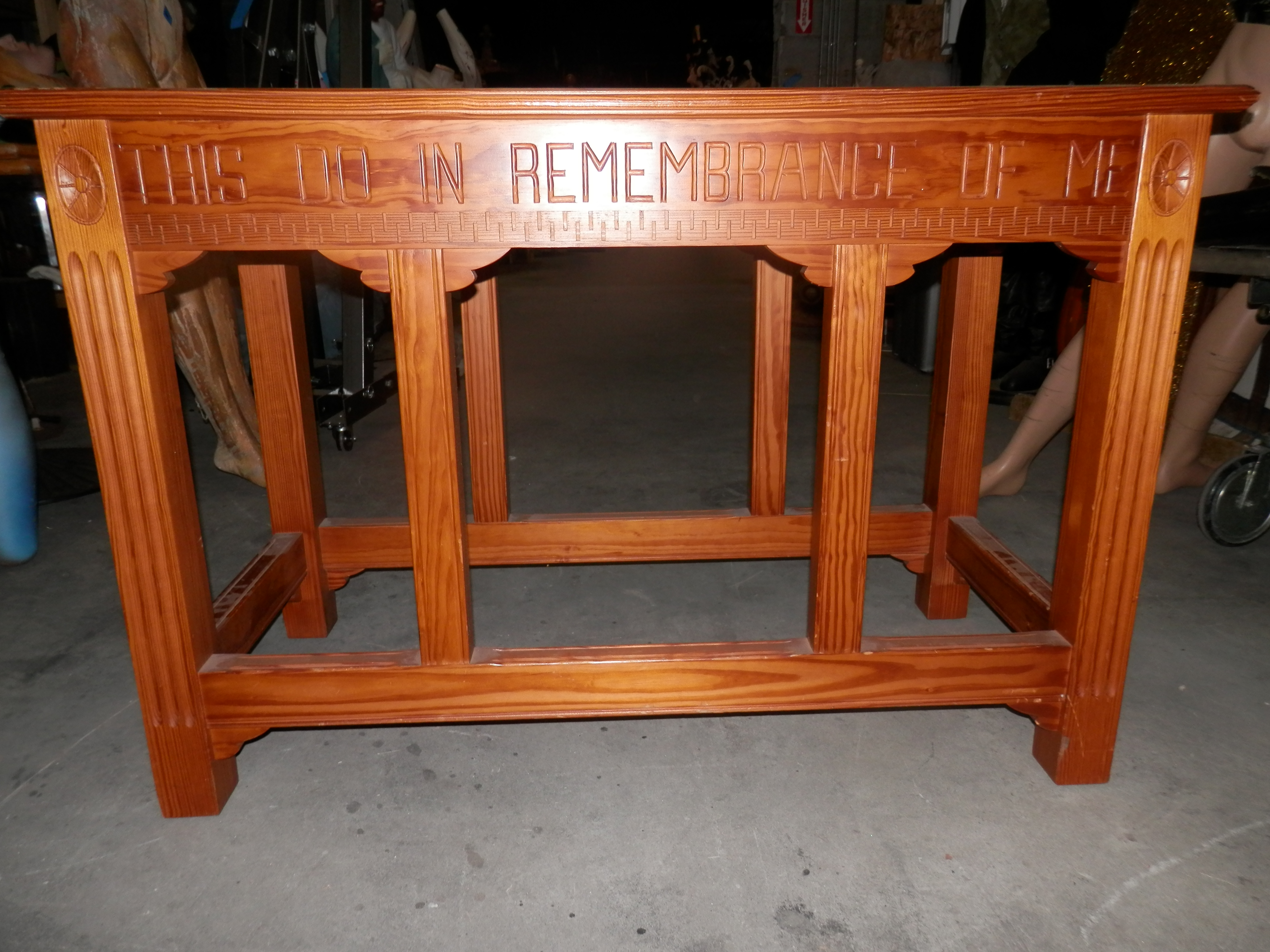 Short Altar Table - engraved wood