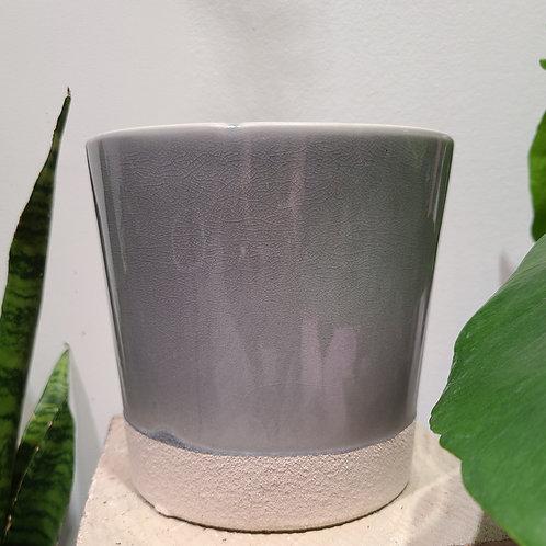 "6"" glazed light gray planter"