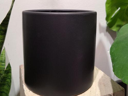 """6"""" Matte black ceramic planter"""