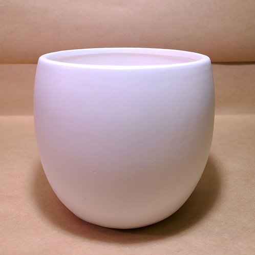 "4"" flat white ceramic planter"