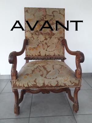 AVANT Restauration de fauteuil par Tapis