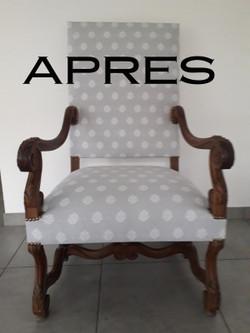 APRES Restauration de fauteuil par Tapis