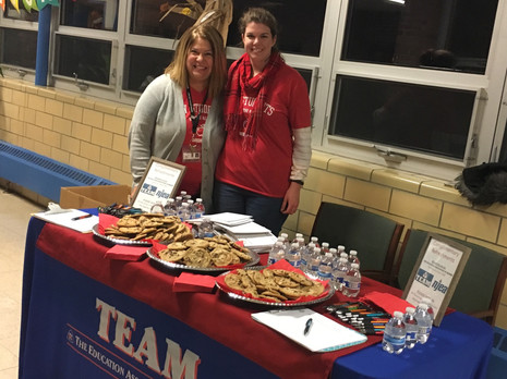 Allison Unger and Kimberly Bruno at Sussex Avenue School's Literacy Night.
