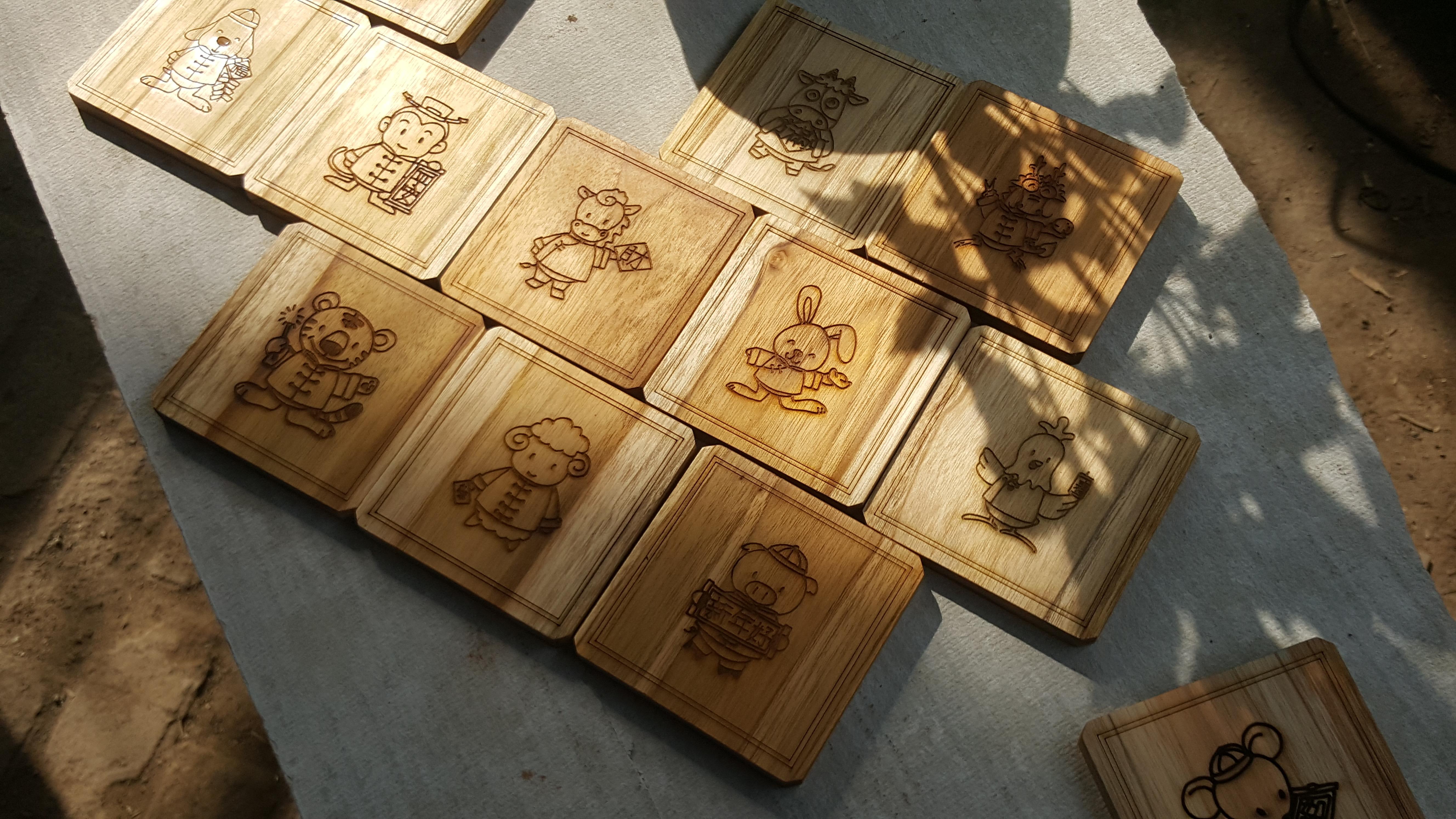 Coaster tatakan gelas Laser Engrave