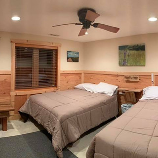 Spacious lodge style rooms with double beds