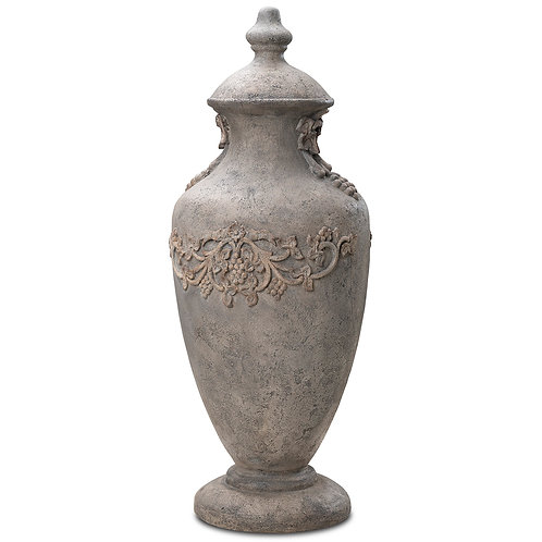 English Urn With Grapes ( Tall ) Outdoor Garden Decor Pinatubo Volcanic Ash Southeast Metro Arts Inc.