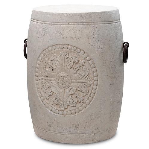 Emblem Barrel Stool with Aged Iron Handles Pinatubo Volcanic Ash Southeast Metro Arts Inc.