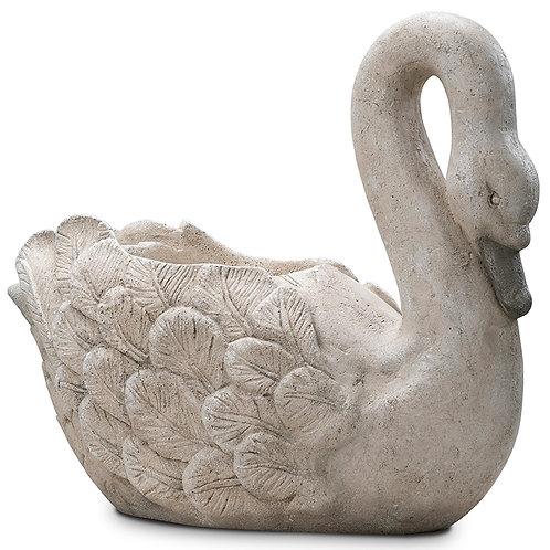 English Swan Planter Outdoor Garden Decor Pinatubo Volcanic Ash Southeast Metro Arts Inc