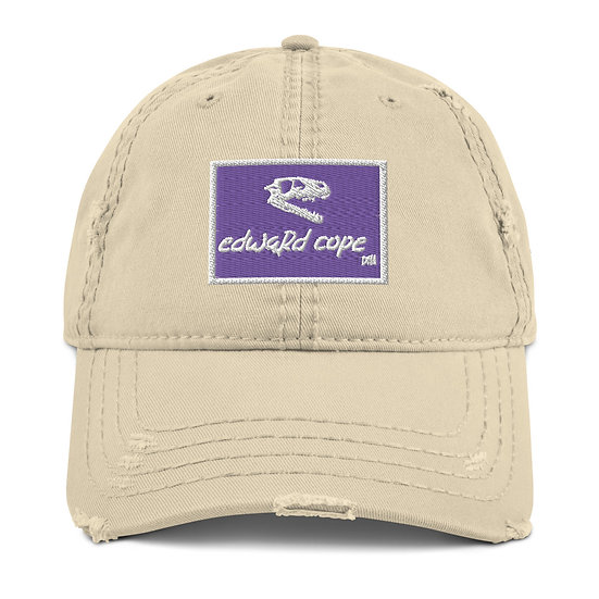 Boxed Distressed Dad Hat w/Skull Side (Purple/White)