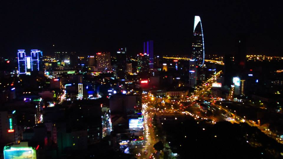Southeast Asia Tours - Cambodia Tours - Views from a downtown rooftop bar in Ho Chi Minh City, Vietn