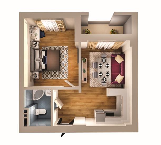 2 otaq studio - 52.00 m2