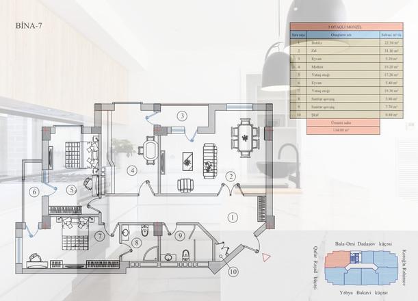 134.00 m2 texniki görünüş