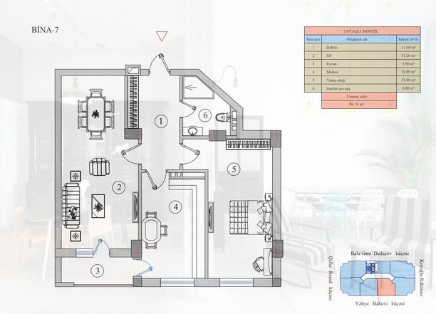 96.70 m2 texniki görünüş