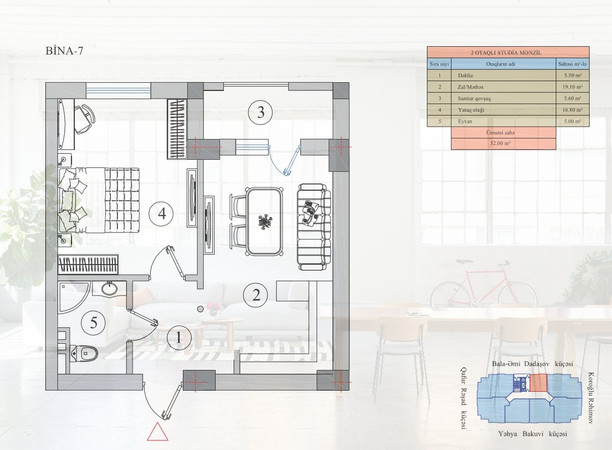 52.00 m2 texniki görünüş