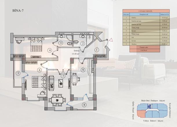 116.50 m2 texniki görünüş