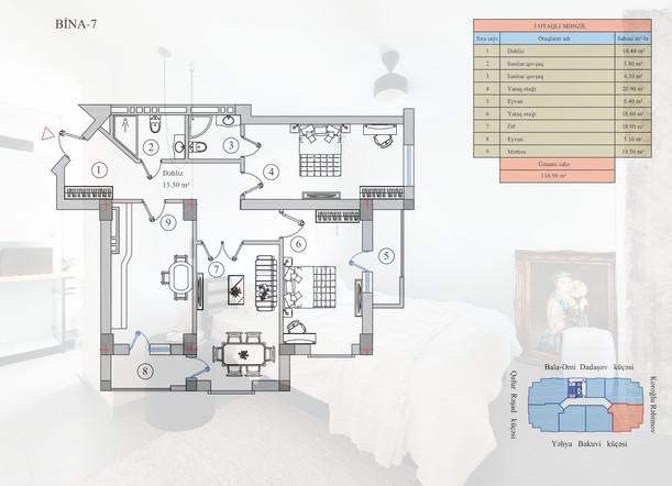 116.90 m2 texniki görünüş