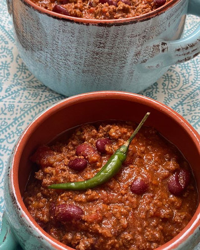 Keeping warm with chilli stacked full of