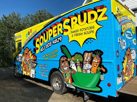 Drivers's side Souperspudz foodtruck YYC