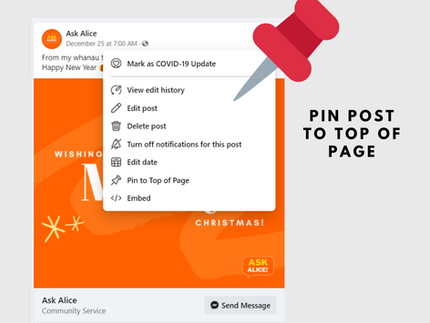 Facebook for Business - Pin to Top