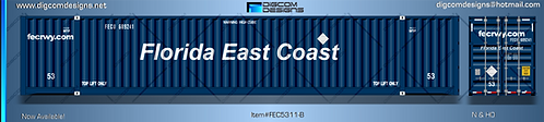 HO-Florida East Coast 53' Container (Letered logo)
